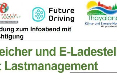 Einladung zum Infoabend Speicher und E-Ladestelle mit Lastmanagement